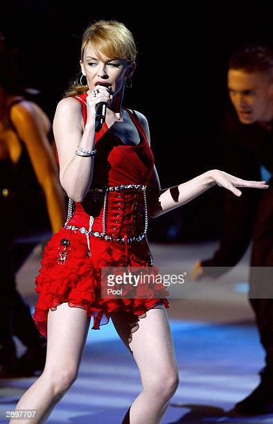 Australian singer Kylie Minogue performs during the NRJ Music Awards ceremony January 24 2004 in Cannes southern France