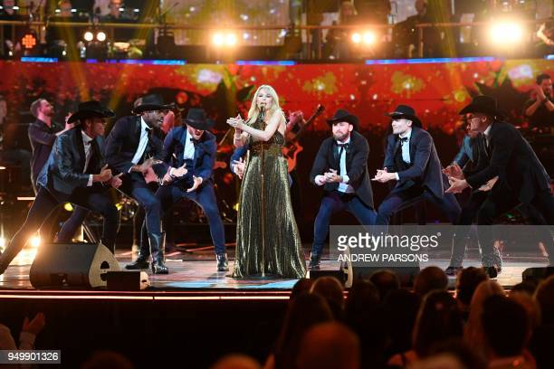 Australian singer Kylie Minogue performs on stage at The Queen's Birthday Party concert at the Royal Albert Hall in London on April 21 2018 on the...