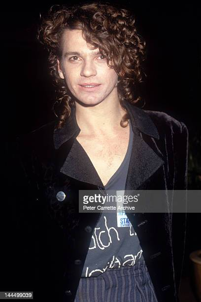 Australian singer Michael Hutchence after his performance with 'INXS' at the Live Aid 'Oz For Africa' concert at the Sydney Sports and Entertainment...