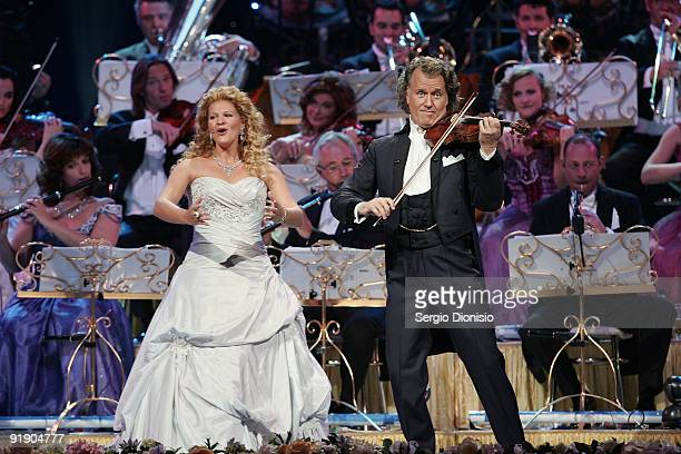 Australian singer Mirusia and musician Andre Rieu perform on stage at Acer Arena on October 15 2009 in Sydney Australia