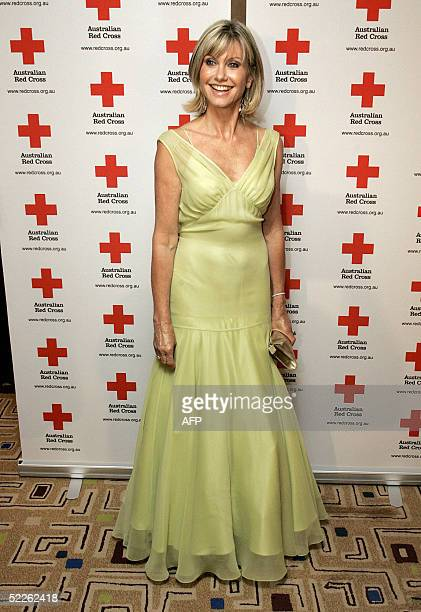 Australian singer Olivia NewtonJohn arrives at Sydney's Westin Hotel 02 March 2005 for the Australian Red Cross 90th Anniversary Gala dinner at which...