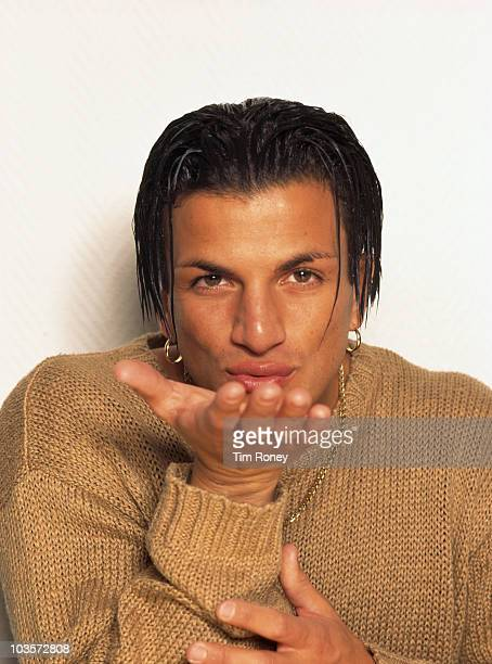 Australian singersongwriter Peter Andre blowing a kiss circa 1995