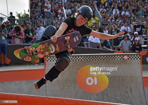 Australian skateboarder Poppy Starr Olsen competes in the finals of the World Park Skateboarding Championships in Sao Paulo on September 14 2019 The...