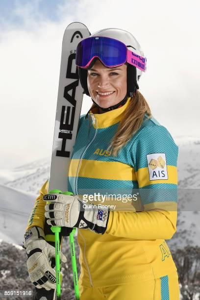 Australian ski cross Winter Olympic athlete Sami KennedySim poses during a portrait session on August 24 2017 at Mount Hotham Australia