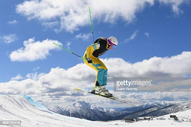 Australian ski cross Winter Olympic athlete Sami KennedySim trains after a portrait session on August 24 2017 at Mount Hotham Australia