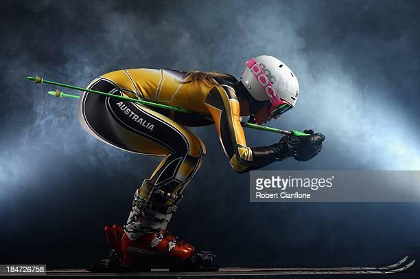Australian slalom and giant slalom athlete Emily Bamford poses during a portrait session on October 16 2013 in Melbourne Australia