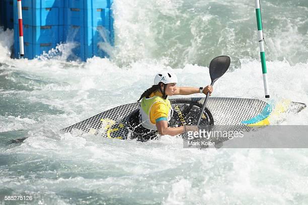 Australian slalom canoeist Jessica Fox practises at the Olympic Whitewater Stadium on August 2 2016 in Rio de Janeiro Brazil