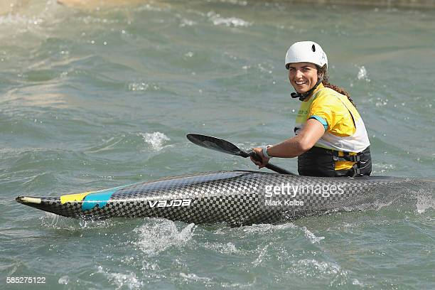 Australian slalom canoeist Jessica Fox smiles for a photo as she practises at the Olympic Whitewater Stadium on August 2 2016 in Rio de Janeiro Brazil