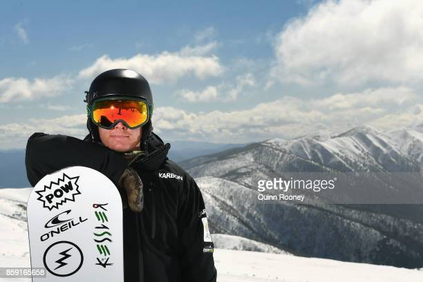 Australian snowboard cross Winter Olympic athlete Adam Lambert poses during a portrait session on August 24 2017 at Mount Hotham Australia