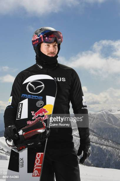 Australian snowboard cross Winter Olympic athlete Alex Pullin poses during a portrait session on August 24 2017 at Mount Hotham Australia