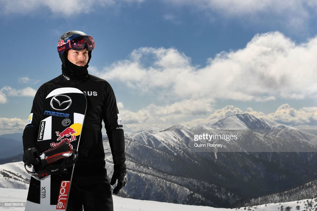 Australian snowboard cross Winter Olympic athlete Alex Pullin poses during a portrait session on August 24, 2017 at Mount Hotham, Australia.
