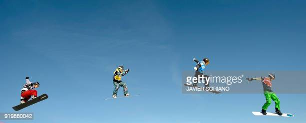 Australian snowboarder Allex Pullin competes ahead of Tony Ramoin from France Hans Reichen from Switzerland and Hanno Douschan from Austria in the...
