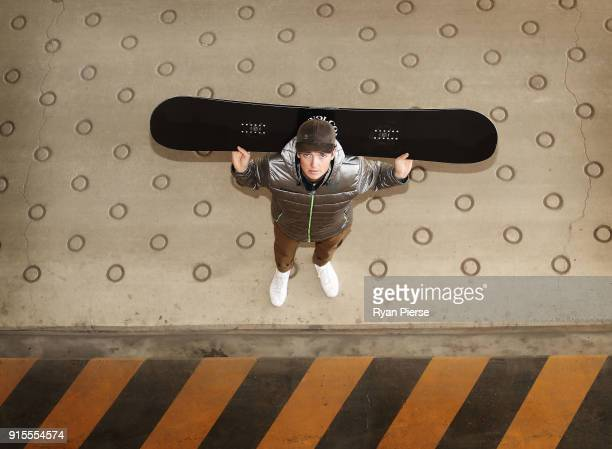 Australian Snowboarder Scotty James poses during previews ahead of the PyeongChang 2018 Winter Olympic Games at Alpensia Ski Resort on February 8...