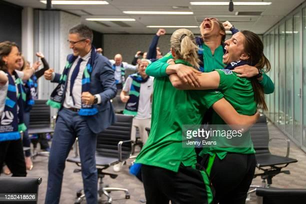 Australian soccer players Steph Catley Alanna Kennedy and Lydia Williams react as FIFA announced Australia as the hosts to the 2023 FIFA Women's...