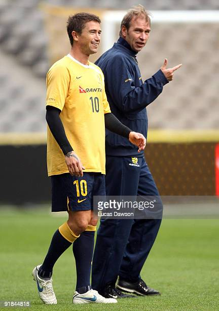 Australian Socceroo coach Pim Verbeek talks with Hary Kewell of the Socceroos at an Australian Socceroos training session at at Etihad Stadium on...