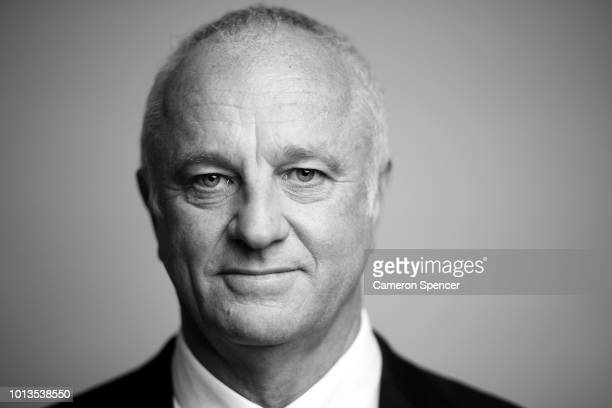 Australian Socceroos and Olyroos coach Graham Arnold poses for a portrait following a press conference at the FFA Offices on August 9 2018 in Sydney...