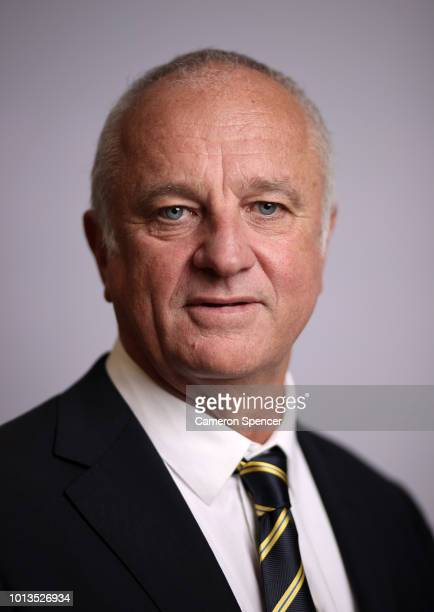 Australian Socceroos and Olyroos coach Graham Arnold speaks to the media during a press conference at the FFA Offices on August 9 2018 in Sydney...