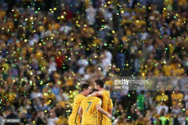 Australian Socceroos celebrate victory at fulltime during the 2018 FIFA World Cup Qualifiers Leg 2 match between the Australian Socceroos and...