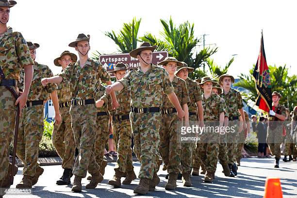 australian soldier cadets at anzac day march parade - anzac soldier stock pictures, royalty-free photos & images