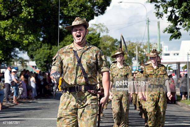 Australian Soldier Cadets marching on Anzac Day