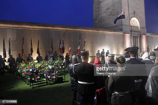 Australian soldiers attend a dawn service to commemorate the 100th anniversary of the Anzac Day at the Australian War Memorial on April 25 2015 in...