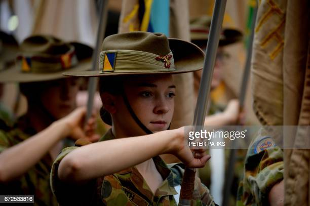 Australian soldiers march in the Anzac Day parade in Sydney on April 25 2017 Ceremonies are held annually on the April 25 anniversary of the illfated...