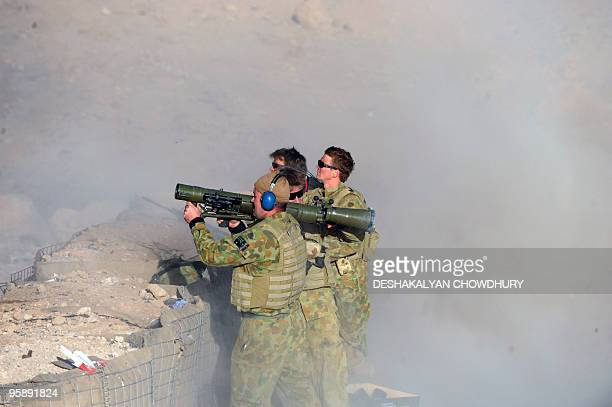 Australian soldierS of Omletc company launch a rocket during practice firing at the forward operating base in southern Uruzgan province's Mirwais on...