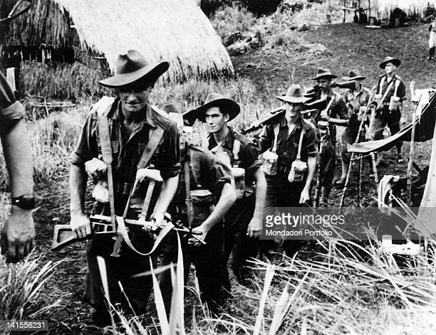 Australian soldiers on the march during a patrol in New Guinea Papua New Guinea May 1944