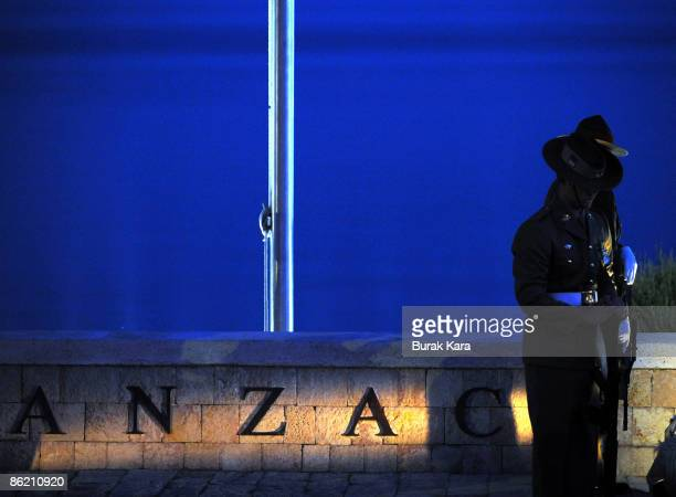Australian soldiers participate in a dawn ceremony to mark the 94th anniversary of the World War I campaign of Gallipoli at Anzac Cove on April 25,...