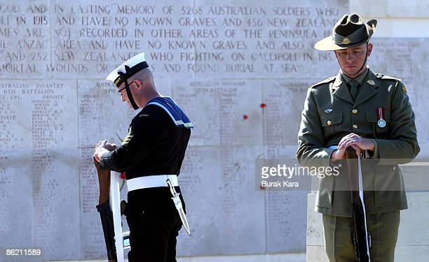 Australian soldiers participate in a dawn ceremony to mark the 94th anniversary of the World War I campaign of Gallipoli at Anzac Cove on April 25...