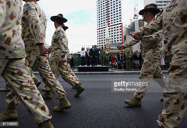 Australian soldiers turn to salute Prime Minister Kevin Rudd at the Queensland Welcome Home Parade on June 28 2008 in Brisbane Australia Over 500...
