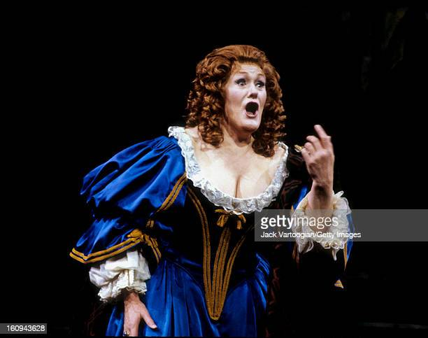 Australian soprano Dame Joan Sutherland on stage in the Metropolitan Opera production of Gaetano Donizetti's 'Lucia di Lammermoor' at a Gala Benefit...