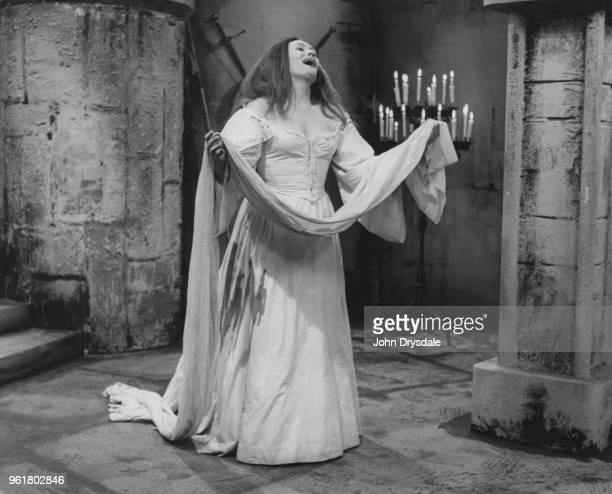 Australian soprano Joan Sutherland performs the 'Mad Scene' from Donizetti's opera 'Lucia di Lammermoor' circa 1960