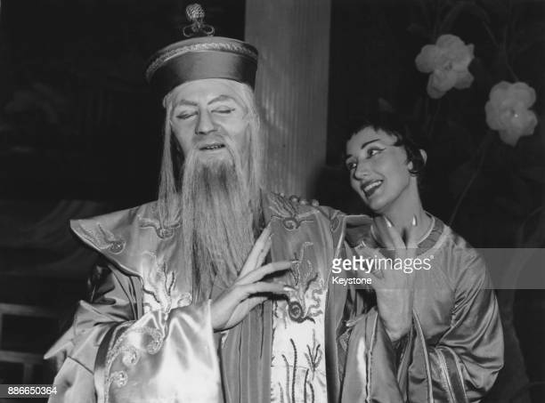 Australian soprano June Bronhill as Princess Mi and Peter Bayliss as her uncle Tschang during rehearsals for a Sadler's Wells Opera Company...