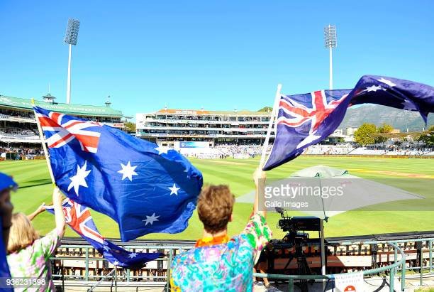 Australian spectators during day 1 of the 3rd Sunfoil Test match between South Africa and Australia at PPC Newlands on March 22 2018 in Cape Town...