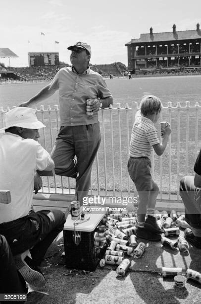 Australian spectators enjoying a beer or two during the Final Test Match at the Melbourne Cricket Ground