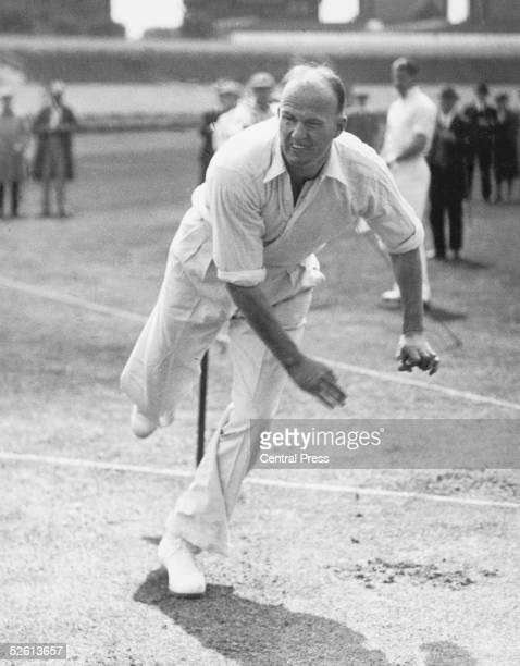 Australian spin bowler Bill 'Tiger' O'Reilly practising in the nets before the first Test match against England at Trent Bridge 10th June 1938
