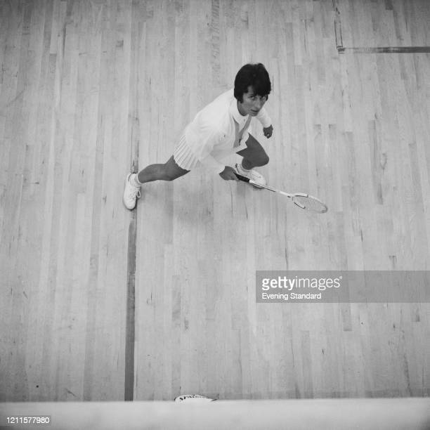Australian squash player Heather McKay in action on court on 28th January 1971