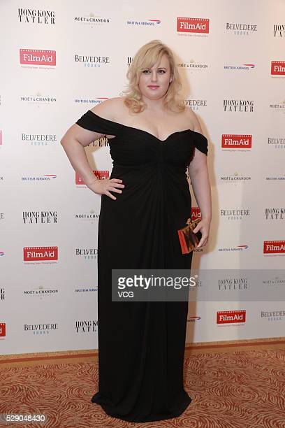 Australian standup comedian and actress Rebel Wilson attends a charity party on May 7 2016 in Hong Kong China