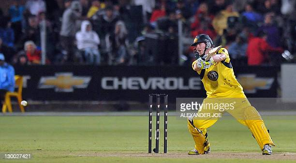 Australian Steve Smith in action during the second one day International at St George's Park in Port Elizabeth on October 23 2011 South Africa...