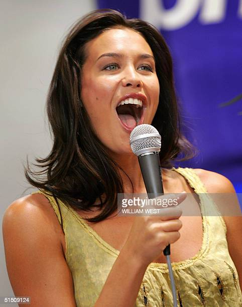 Australian supermodel Megan Gale speaks to her fans during an instore appearance in Melbourne 20 October 2004 Gale is making her only Australian...