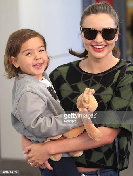 Australian supermodel Miranda Kerr and her son Flynn arrive at Sydney International Airport on a flight from LA, on May 2, 2014 in Sydney, Australia.