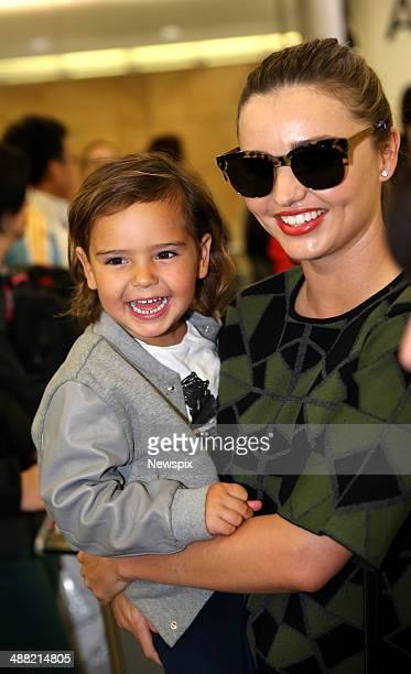 Australian supermodel Miranda Kerr and her son Flynn arrive at Sydney International Airport on a flight from LA on May 2 2014 in Sydney Australia