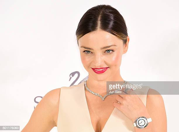 Australian supermodel/designer Miranda Kerr holds a press conference for her jewelry collection launch at Swarovski Ginza store on December 13 2015...