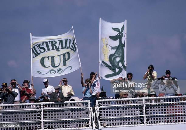 Australian supporters gather to watch the final race of the America's Cup series at Newport Rhode Island 26th September 1983 In September 1983 the 12...