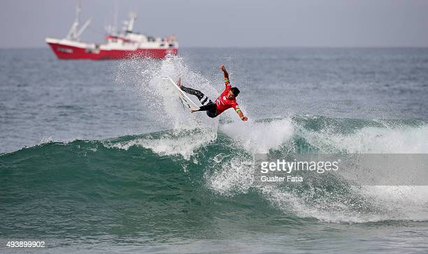 Australian surfer Julian Wilson in action during round 1 of the Moche Rip Curl Pro Portugal at Supertubos on October 23 2015 in Peniche Portugal
