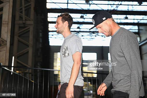 Australian surfer Mick Fanning departs after speaking to the media during a press conference at All Sorts Sports Factory on July 21 2015 in Sydney...