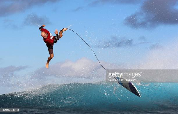 Australian surfer Nathan Hedge competes on August 9 2014 during trials for the 2014 Billabong Pro Tahiti surf competition in the Hava'e pass off...