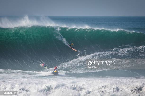 Australian surfer Russell Bierke on the wave The WSL Big Wave Tour issued a Green Alert for the Nazaré Challenge in Nazaré Portugal to run on Friday...