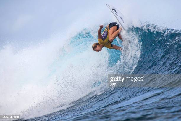 Australian surfer Stephanie Gilmore competes in the Outerknown Fiji Women's Pro surfing competition in Tavarua Fiji on May 31 2017 / AFP PHOTO / Tom...